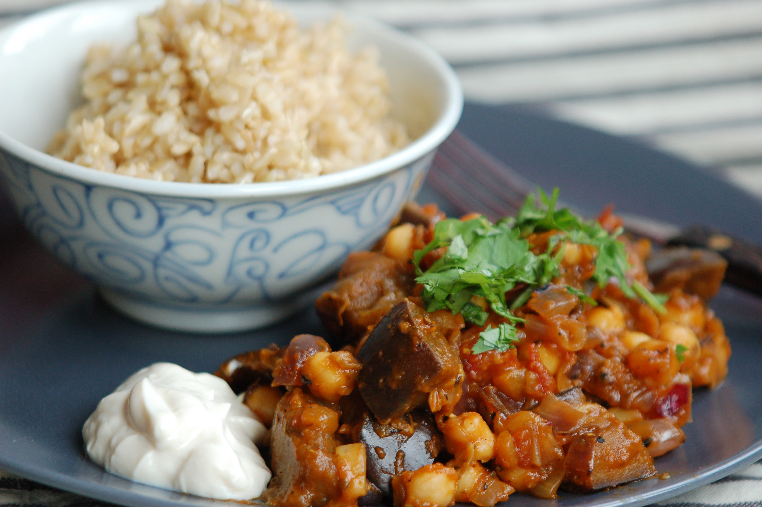 Aubergine chickpea curry